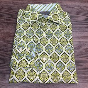 Thomas Dean Lime Green & White Pattern Shirt M